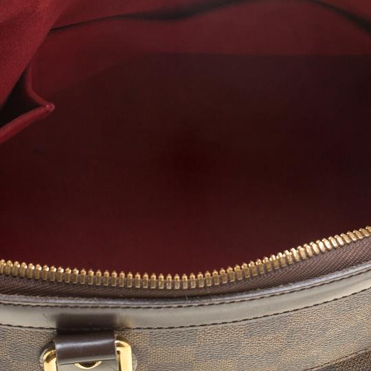 Louis Vuitton Leather Canvas Satchel in Brown Image 8