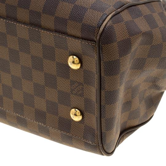 Louis Vuitton Leather Canvas Satchel in Brown Image 9