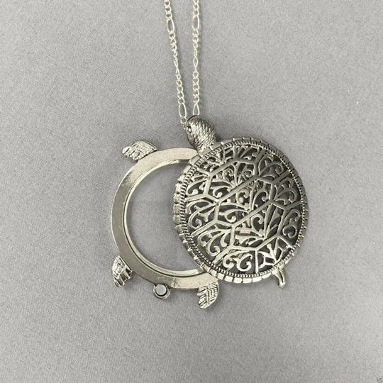 Generic Antique Silver 5X Magnifying Glass Turtle Design Pendant Necklace Image 1