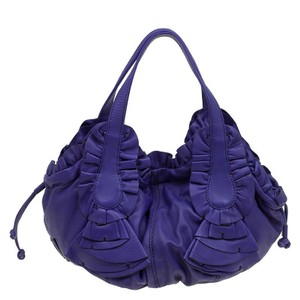 Valentino Leather Satin Hobo Bag