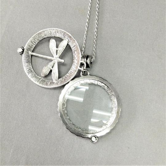 Generic Silver Finish 5X Magnifying Glass Dragonfly Design Pendant Necklace Image 2