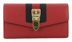 Gucci Sylvie Wallet Leather Red Clutch