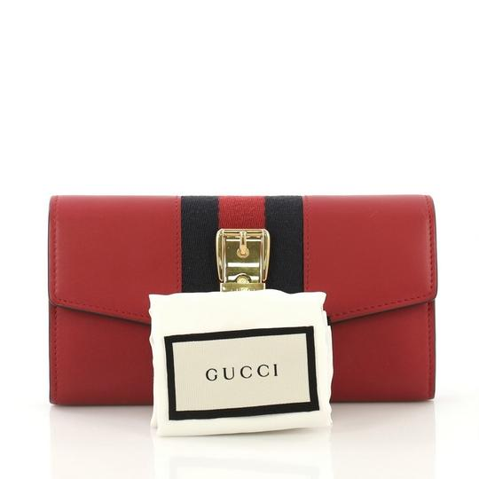 Gucci Sylvie Wallet Leather Red Clutch Image 1