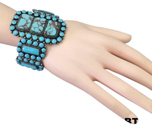 Generic Western Style Turquoise Color Multiple Stones Stretchable Bracelet