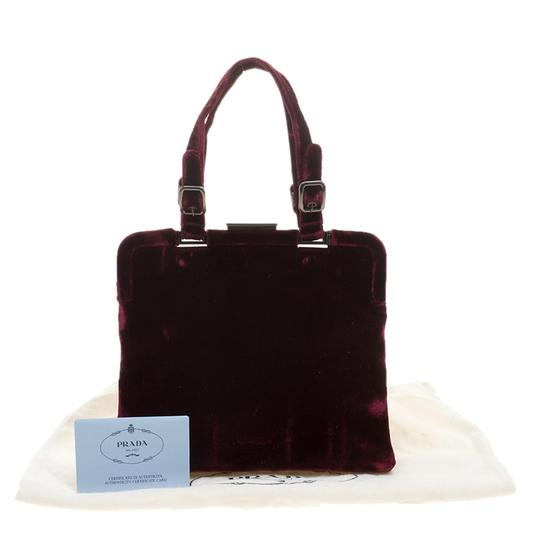 Prada Nylon Satchel in Burgundy Image 10