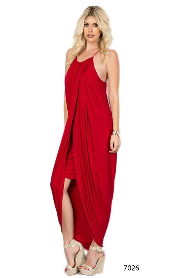 64cff06854768 Red Tank Top High Neck Sexy Slit Mini Women Long Casual Maxi Dress Size 12  (L) 48% off retail