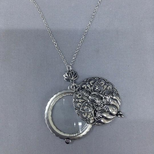 Generic Silver Chain 5X Buddha Magnifying Glass Locket Pendant Necklace Image 1
