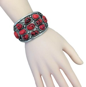 Generic Western Style Red Stones Pendant Silver Finish Stretchable Bracelet