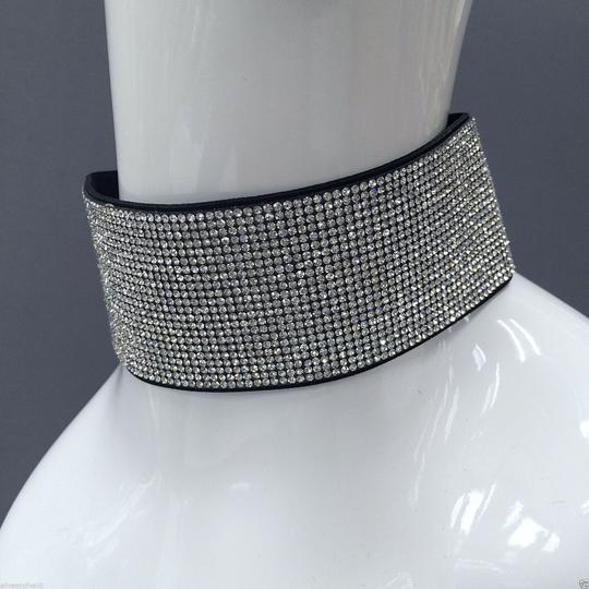 Generic Fashionable Silver Finish Rhinestone Choker Necklace with Earrings Image 1