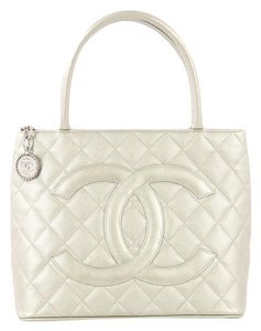 Chanel Medallion Quilted Tote in White