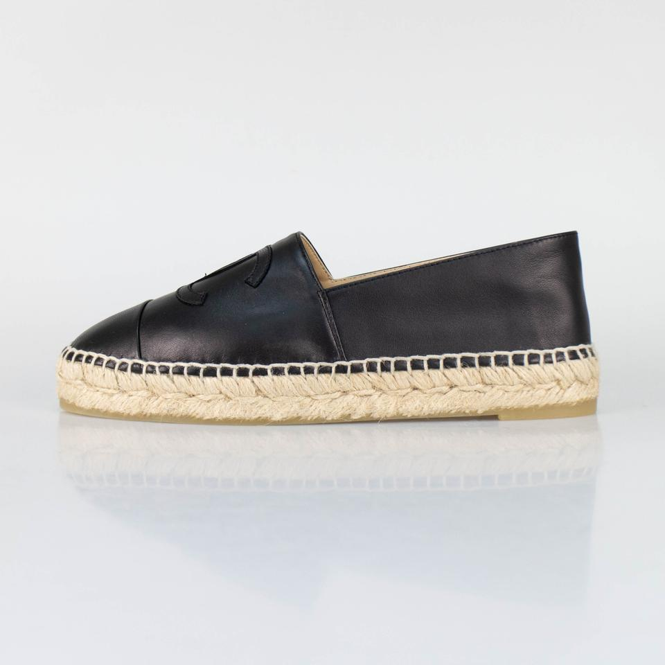 e6a57fc7460 Chanel Black Leather Logo Espadrilles Flats Size EU 36 (Approx. US 6)  Regular (M, B)