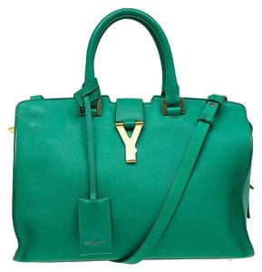 Saint Laurent Leather Suede Paris Tote in Green