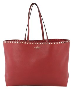 Valentino Shopper Leather Tote in Red