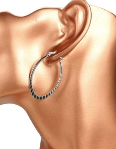 Other SURGICAL STEEL OVAL RIDGE-CUT DESIGN HOOP EARRINGS