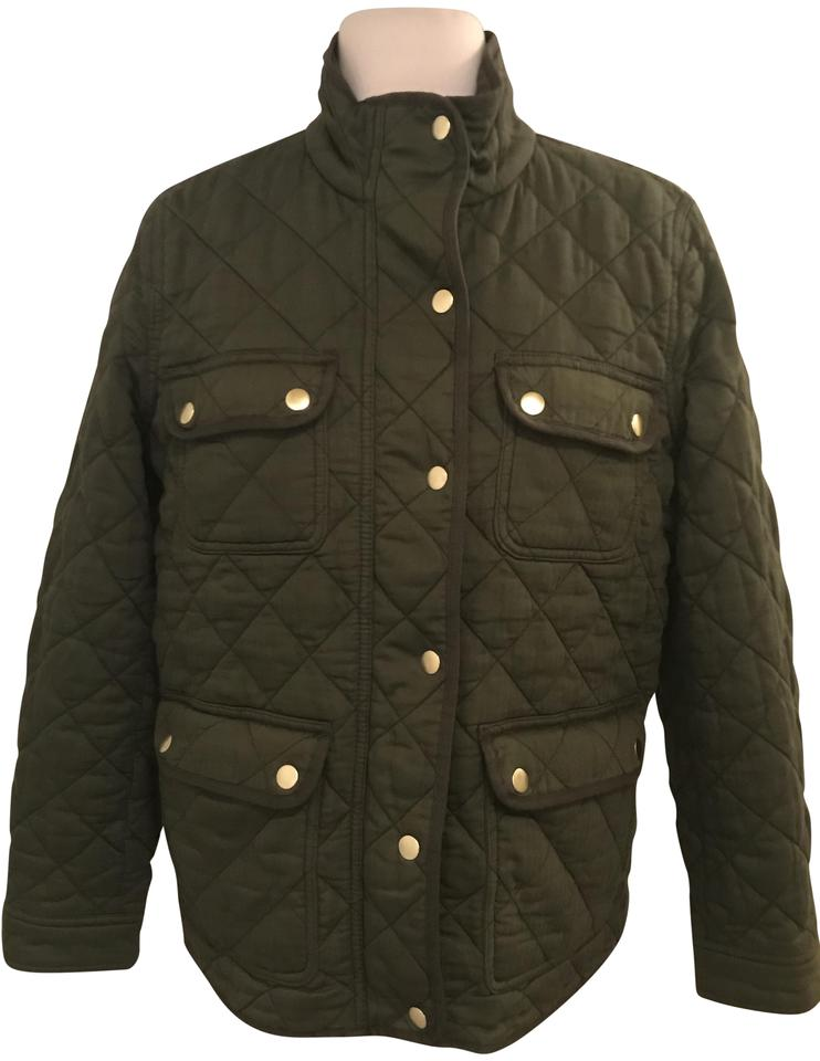 J Crew Deep Moss Quilted Downtown Field Pl G8742 Jacket