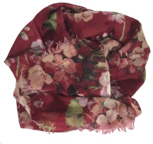 Gucci NEW GUCCI Blooms Wool Cashmere Stole Scarf, Red