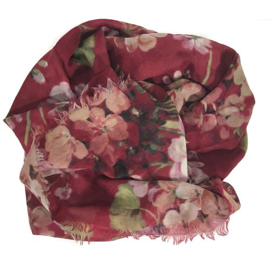 Gucci NEW GUCCI Blooms Wool Cashmere Stole Scarf, Red Image 1
