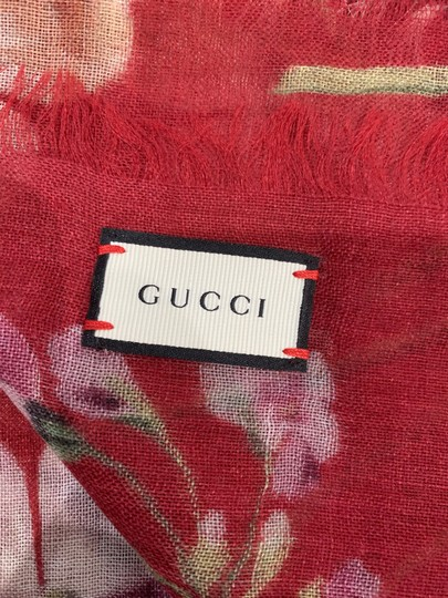 Gucci NEW GUCCI Blooms Wool Cashmere Stole Scarf, Red Image 10