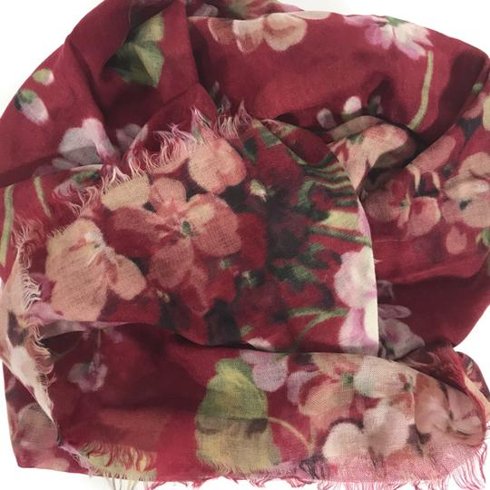 Gucci NEW GUCCI Blooms Wool Cashmere Stole Scarf, Red Image 11
