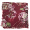 Gucci NEW GUCCI Blooms Wool Cashmere Stole Scarf, Red Image 2