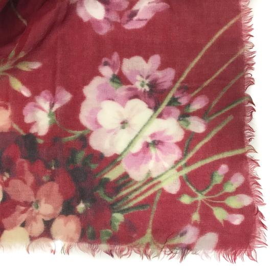 Gucci NEW GUCCI Blooms Wool Cashmere Stole Scarf, Red Image 3