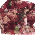 Gucci NEW GUCCI Blooms Wool Cashmere Stole Scarf, Red Image 4