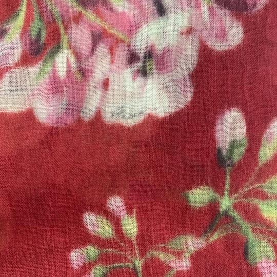 Gucci NEW GUCCI Blooms Wool Cashmere Stole Scarf, Red Image 6