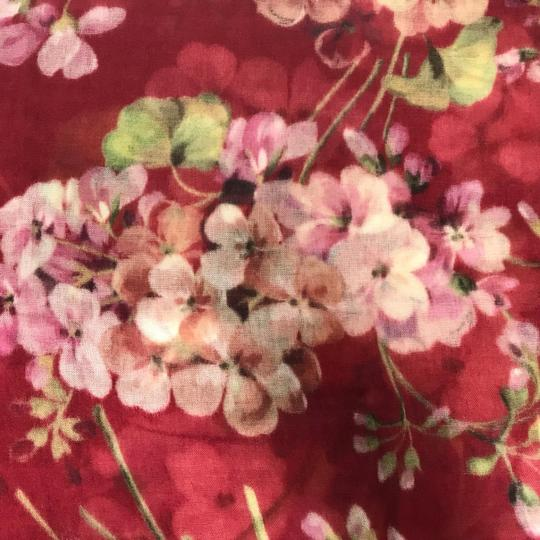 Gucci NEW GUCCI Blooms Wool Cashmere Stole Scarf, Red Image 7