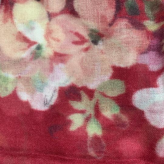 Gucci NEW GUCCI Blooms Wool Cashmere Stole Scarf, Red Image 8