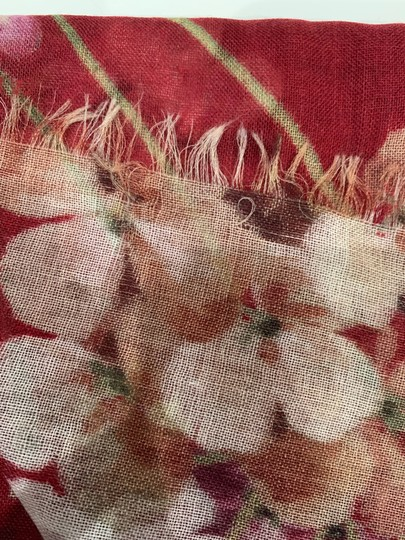 Gucci NEW GUCCI Blooms Wool Cashmere Stole Scarf, Red Image 9