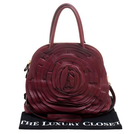 Valentino Leather Satin Satchel in Red Image 10