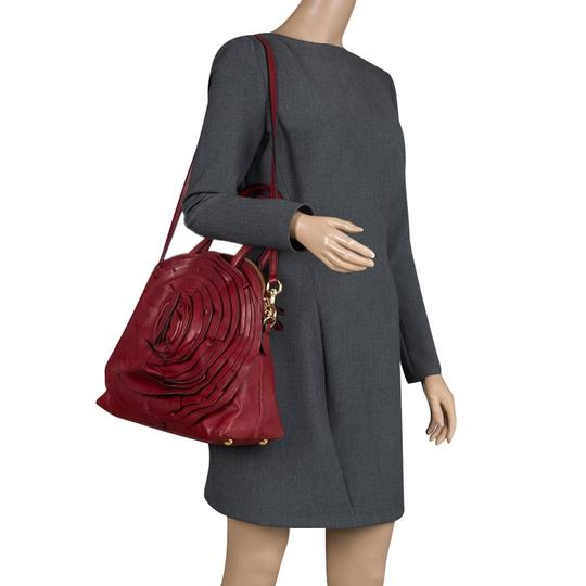 Valentino Leather Satin Satchel in Red Image 2