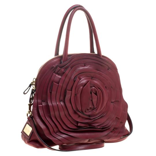 Valentino Leather Satin Satchel in Red Image 3