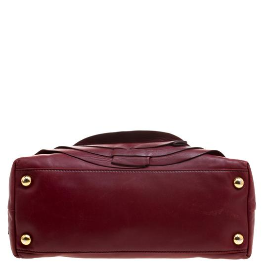 Valentino Leather Satin Satchel in Red Image 4