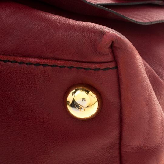 Valentino Leather Satin Satchel in Red Image 8