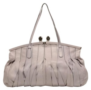 Valentino Leather Pleated Satchel in Purple