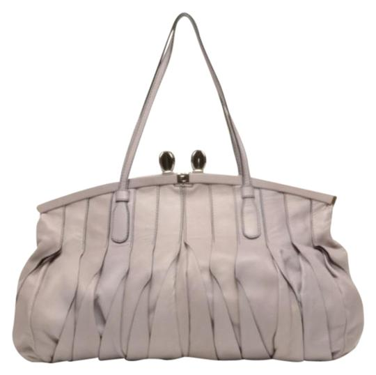 Valentino Leather Pleated Satchel in Purple Image 0