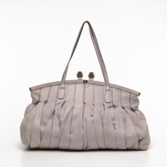 Valentino Leather Pleated Satchel in Purple Image 1
