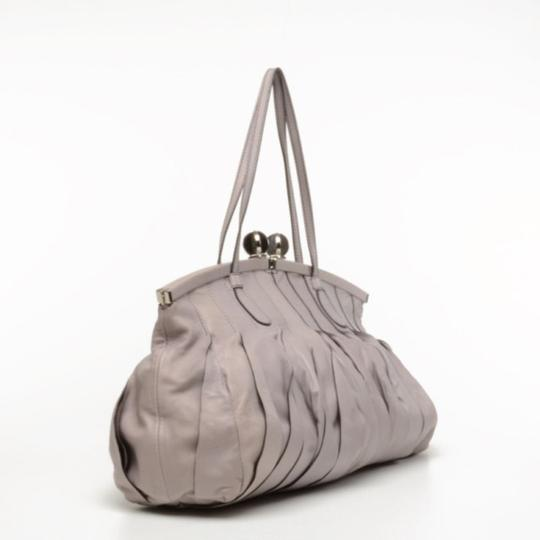 Valentino Leather Pleated Satchel in Purple Image 2