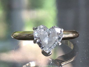 G 14k Gold .90 Ct Heart Shape Solitaire Diamond Si1 Engagement Ring