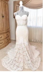 Inbal Dror Nude Lace Gown Formal Wedding Dress Size 4 (S)