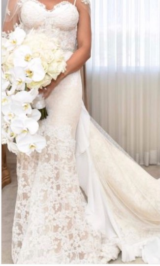 Inbal Dror Nude Lace Gown Formal Wedding Dress Size 4 (S) Image 2