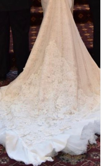 Inbal Dror Nude Lace Gown Formal Wedding Dress Size 4 (S) Image 5