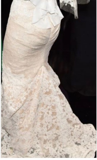 Inbal Dror Nude Lace Gown Formal Wedding Dress Size 4 (S) Image 6