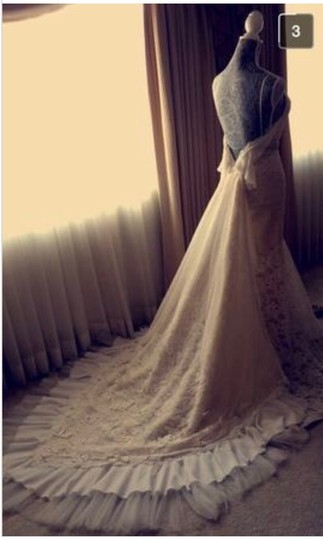 Inbal Dror Nude Lace Gown Formal Wedding Dress Size 4 (S) Image 7