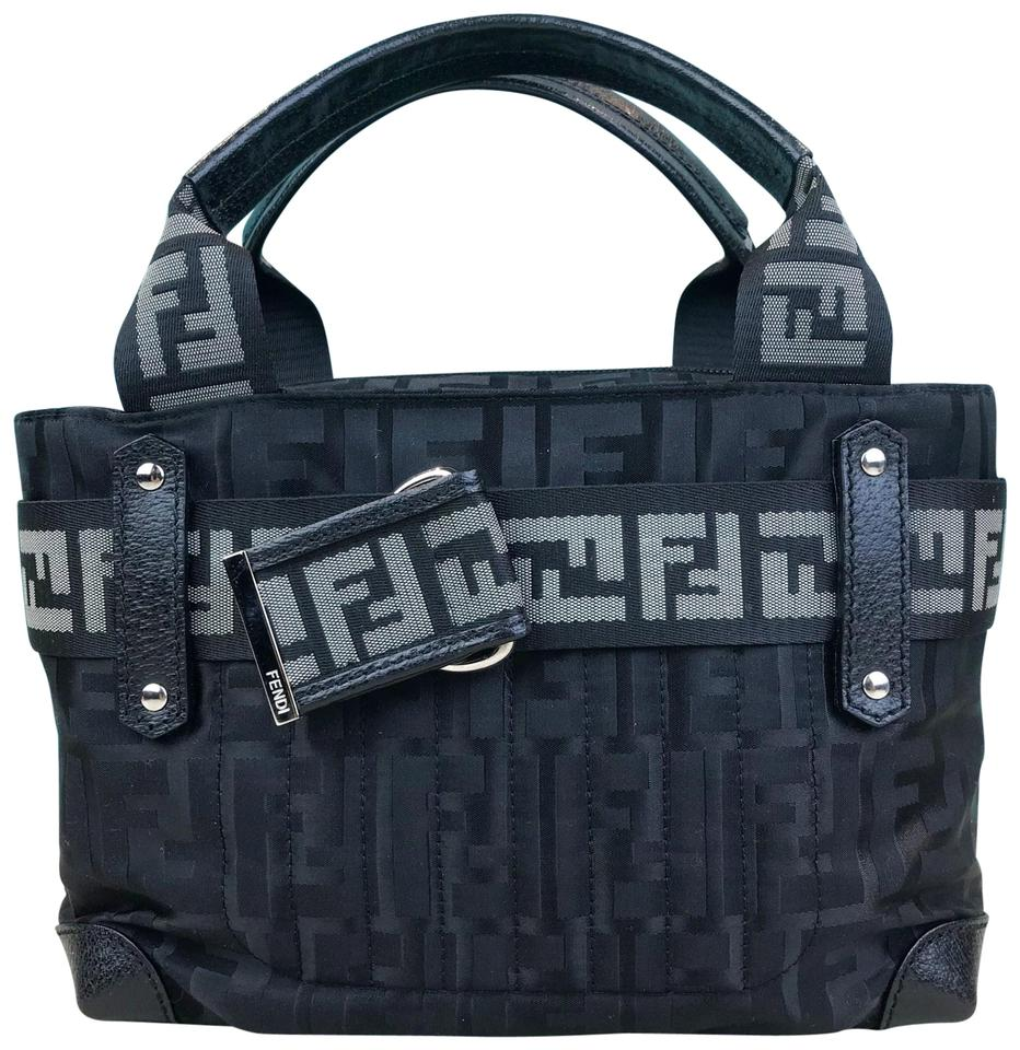 e39d85ad Fendi Bag Zucca Ff Monogram Mini Sale Black Nylon Tote 60% off retail