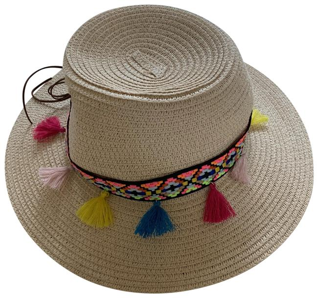 Item - Tan and Multicolored Colored Tassel Hat