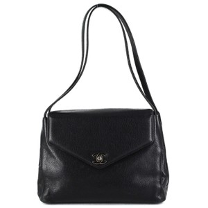 Chanel Leather Classic Logo Silver Hardware Chic Shoulder Bag