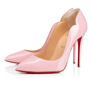 Christian Louboutin Pigalle Follies Patent Leather Heels Hot Chick Scallop Pink Pumps