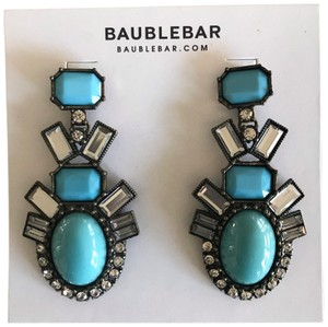 BaubleBar Crystal Teal Aqua Blue Antique Gold Statement Drop Earrings